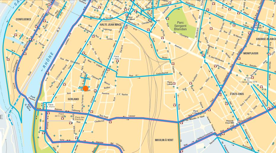 Plan accès vélo Cabinet Lyon 63 rue André Bollier Cabinet Social Stéphanie LADEL