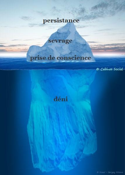 Sortie de l'addiction - schéma iceberg - drogues avec ou sans substances - déni, prise de conscience, sevrage, persistance - Cabinet Social, Stéphanie LADEL